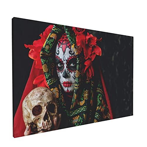 PATINISA Cuadro en Lienzo,Calavera Catrina sosteniendo una calavera sobre un fondo oscuro y aterrador,Impresión Artística Imagen Gráfica Decoracion de Pared