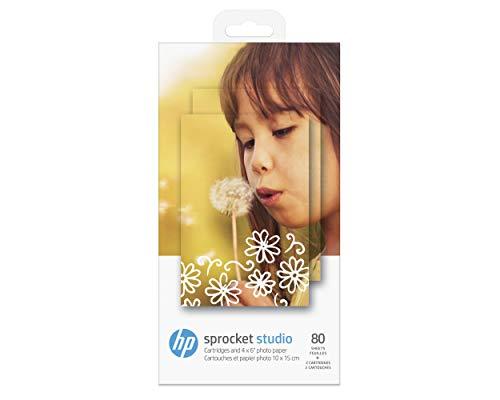 HP Sprocket Studio 10x15 cm Fotopapier und Patronen (80 Blatt - 2 Patronen) Kompatibel mit HP Sprocket Studio