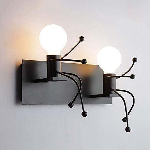 QTRT Creativo Pequeño Hombre Lámpara De Pared Industrial Viento del Arte del Hierro De Pared De Luz Modern Simple Luz De Techo del Restaurante De La Lámpara Pendiente E27 Decoración For Sala De Estar