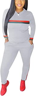 Women Casual 2 Pieces Sweatsuits Outfits Long Sleeve Top and Long Pants Tracksuits Set with Pockets