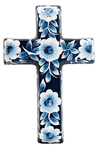 Precious Home Collection, Blue Floral Decoration Cross, 9-3/16