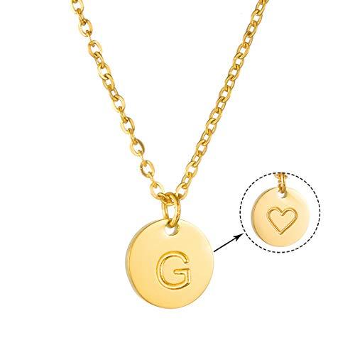 AFSTALR Damen Goldkette mit Buchstabenhänger G Initiale Kette mit Herzen Gold Geburtstag Namenskette Geschenk für Mädchen