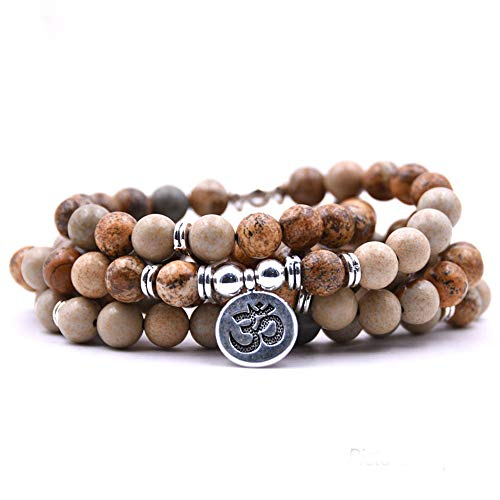 108 Natural Beads Mala Yoga Jewelry Meditation Beads Bracelet Necklace with OHM Charm (Picture Jasper)