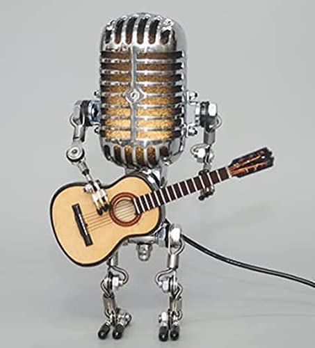 Vintage Microphone Robot Desk Lamp with Guitar, Robot Touch Dimmer Industrial Table Lamp for Office Living Room, Bedroom Decoration Steampunk Decoration with Light (A)