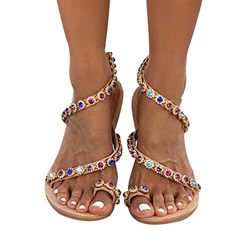 Xiaolian Womens Flat Sandals Boho Style Colorful Rhinestones Sandals Jeweled Sandal Shoes for Summer Beach Holiday