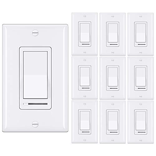 [10 Pack] BESTTEN Dimmer Light Switch, Single-Pole or 3-Way, 120V, Compatible with Dimmable LED, CFL, Incandescent and Halogen Bulbs, Decorator Wallplate Included, UL Listed, White