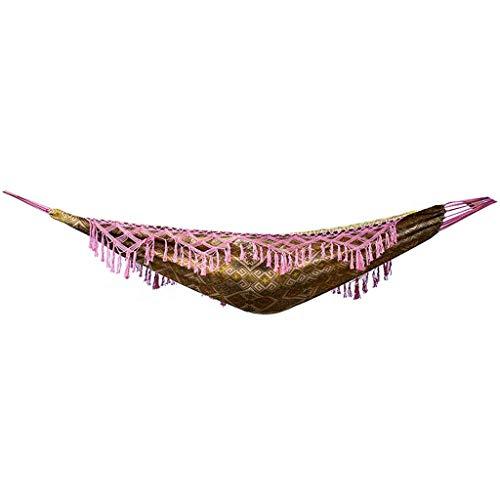 ZJ666 Hängesessel für 2 Personen, tragbar, brasilianisches Makramee, Fransen, Schaukelbett für Reisen, Garten, 240 x 150 cm, Traglast 300 kg, Geschenke für Wanderer