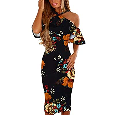 HTHJSCO Women's Floral Print Sleeveless Sexy Bodycon Cocktail Party Summer Dresses