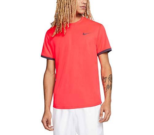 Nike Herren Nikecourt Dri-Fit Tennis-Trikot, Carmesí Láser/Gridiron, 2XL