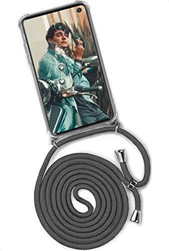 ONEFLOW Twist Hülle kompatibel mit Samsung Galaxy S10 - Handykette, Handyhülle mit Band zum Umhängen, Hülle mit Kette abnehmbar, Dunkelgrau
