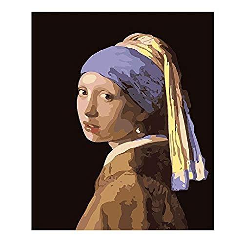 DIY Malen Nach Zahlen Kits Lila Turbanfrau DIY Handgemalt Ölgemälde Geschenk Für Kinder Gemälde Kits Dekoration Weihnachten Geschenk 40X50Cm Ohne Rahmen