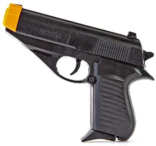 Nick and Ben Spielzeug-Pistole Kinder-Softair Agenten-Pistole Airsoft Waffe mit 15 Kugeln Munition 0,5 Joule ab 14 Jahre schwarz Zubehör