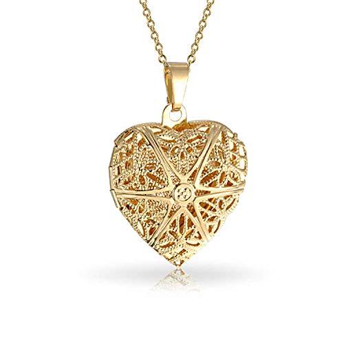 Bling Jewelry Star Coeur Aromathérapie Huiles Essentielles Diffuseur De Parfum Médaillon pour Les Femmes Collier Pendentif Plaqué 18K