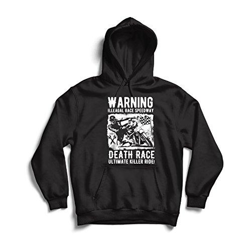 lepni.me Sweatshirt à Capuche Manches Longues Course de la Mort - Ultime Course de Tueur, Course de Moto, Motard crâne, Classique - Vintage - rétro Moto (XXX-Large Noir Multicolore)