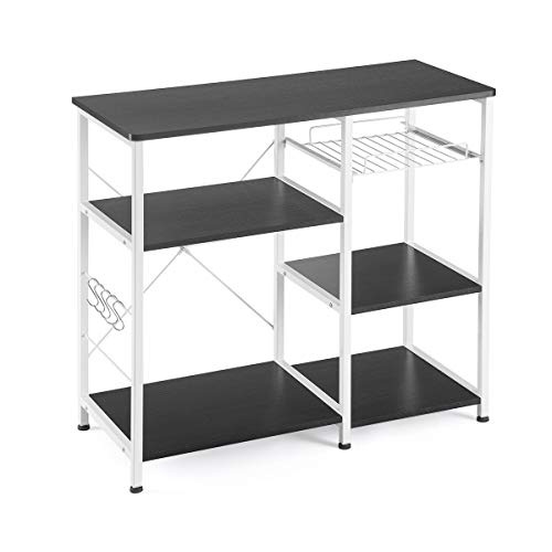 Mr IRONSTONE Kitchen Baker's Rack Utility Storage Shelf Microwave Stand 3-Tier+3-Tier Table for Spice Rack Organizer Workstation (35.5' Dark Brown)