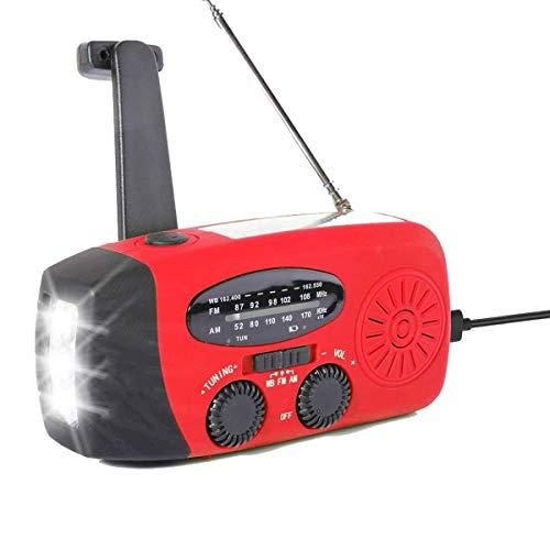Lychee Solar Radio AM/FM Kurbelradio Tragbar USB Wiederaufladbar Notfallradio, Led Taschenlampe, SOS Alarm und Handkurbel Dynamo für Camping, Survival, Reisen, Notfall (Rot)