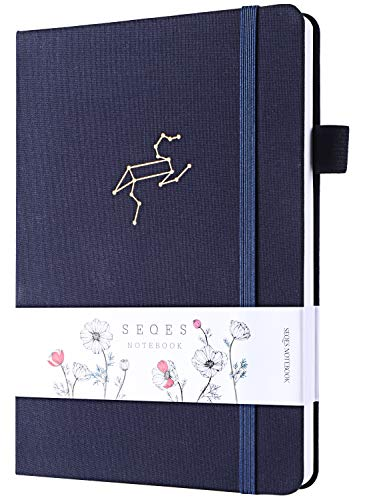 Bullet Dotted Journals -A5 Page Number Dot GridNotebook 160gsm Bleedproof Paper,Hardcover Dot Journalwith Inner Pocket