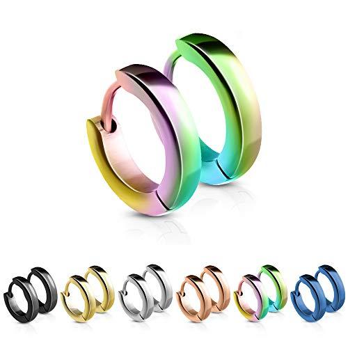 Treuheld® | Schmale Creolen/Ohrringe aus medizinischem Edelstahl | 2,5mm x 12mm | Bunt/Regenbogen | Klappcreolen für Damen und Herren | Set