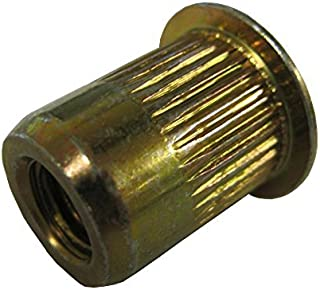 Max Grip .130 Carton: 1,000 pcs Large Flange Ribbed Blind Threaded Inserts//Steel//Zinc Yellow 8-32