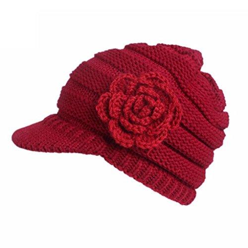 KEERADS Gorro Tipo Boina para Mujer, Gorro de Lana con Visera Rojo Rosso M