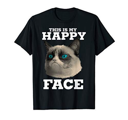 Grumpy Cat This Is My Happy Face Halftone Portrait T-Shirt