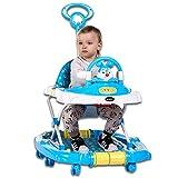 KAILUN Andador para Bebé Primeros Pasos Andador Redondo Multifuncional Baby Go, Andador Plegable De Música para Niños Pequeños De Primer Paso con Bandeja De Alimentación,Azul