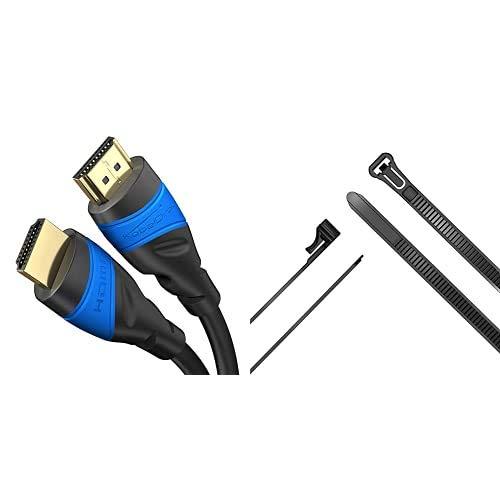 KabelDirekt 5m Cable HDMI 4K, compatible con HDMI + KabelDirekt, sujetacables con auto cierre 7,4 mm x 250 mm