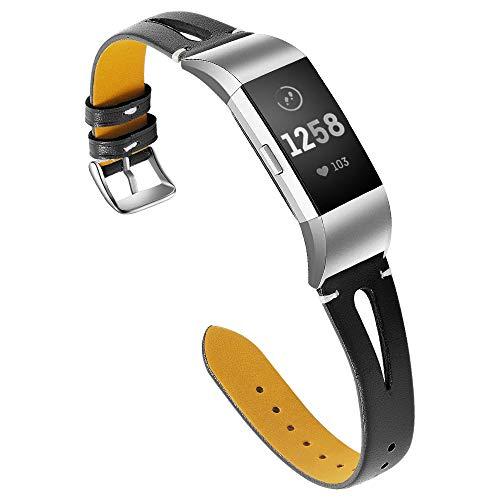 Aottom Bracelet de Remplacement en Cuir Fin résistant à la Transpiration pour Fitbit Charge 2 Bracelet de Montre Intelligente Bracelet de Rechange avec Boucle en métal pour Fitbit Charge 2 Noir
