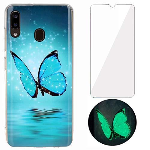 YiKaDa - Cover per Samsung Galaxy A40 + Pellicola Protettiva in Vetro Temperato, Custodia Luminosa Morbida in Silicone TPU, Cover [Ultra Sottile] per Samsung Galaxy A40 - Glitter Farfalle