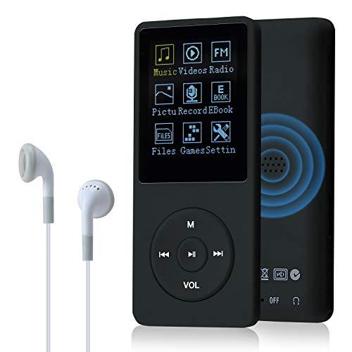 COVVY Slim Reproductor de música 8 GB portátil sin pérdida de Sonido de 70 Horas de Pantalla Reproductor de MP3 hasta 64 GB (Negro)