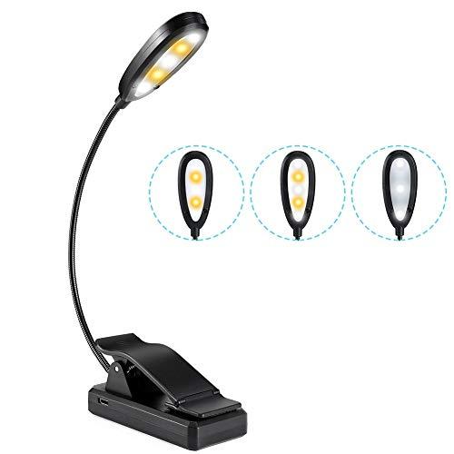 Haofy Luz de Lectura, Lámpara de Lectura Recargable 5 LED con 9 Modos de Luz, 3 Brillos y 3 Colores de Luz, 360° Flexible Lampara de Lectura Pinza para Lectores Noche, E-Reader, Libro, PC y Tablet