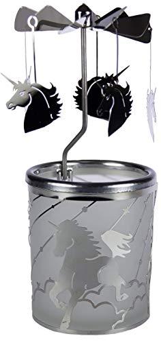 Kerzenfarm Hahn Glaskarussell Teelichthalter Windlicht 84387 Motiv Einhorn Größe 16 x 6 x 6 cm Glaskarussel, Glas, Silber, 6 cm