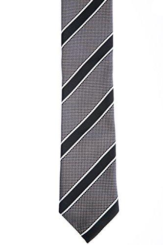 Hugo Boss Herren Krawatte Herren-Accessoire College-Streifen Grau Onesize