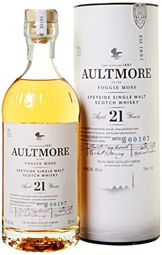Aultmore Scotch Whisky Single Malt, Speyside 21 Anni, Gusto persistente e rotondo - 70 cl