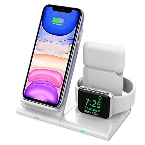 Hoidokly Kabellose Ladegerät, 3 in 1 Fast Wireless Charger für iPhone SE 2020/11/11 Pro/11 Pro Max/XS/XR/X/8/8P, kabellose Ladestation für iWatch 5/4/3/2 und Airpods(kein iWatch Ladekabel und Adapter)