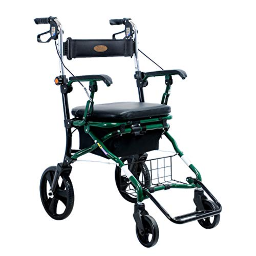 2 in 1 Medical Rollator-Transport Chair Foldable 4 Wheels Rollator with Padded Seat, Reversible Backrest and Foldable Footrests, Green