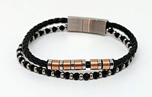 OTTAGONO Pulsera de 2 hilos, cristales de colores y cuerda con discos de acero (JYB0026)