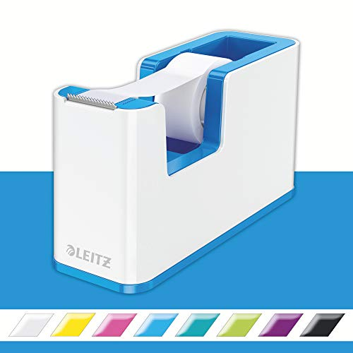 Leitz, 53641036, plakband-tafelloper, vaste stand, incl. lijmrollen, wit/metallic blauw, WOW