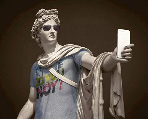 Escultura de Apolo vestida como un hipster lienzo arte mural carteles e impresiones decoración de pared imágenes divertidas para la sala de estar pintura decorativa sin marco en lienzo A342 60x90cm