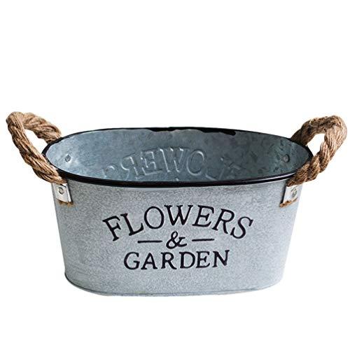 BESPORTBLE Cubo de Flores Rústicas Contenedor de Plantas Suculentas de Metal Maceta de Hierro Decoración Interior O Exterior