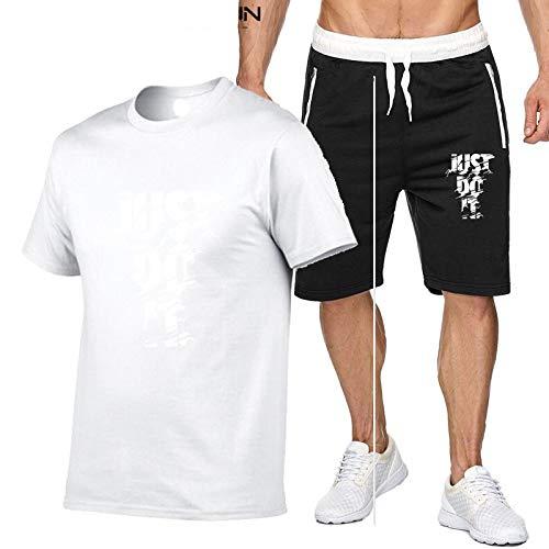 DREAMING-Deportes verano fitness hombres cuello redondo de manga corta transpirable moda jogging camiseta casual top + pantalones cortos traje de pantalones de cinco puntos L
