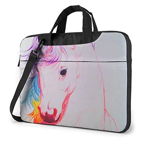 Laptop Shoulder Bag 15.6 inch, Rainbow Unicorn Busin Briefcase Protective Bag Cover
