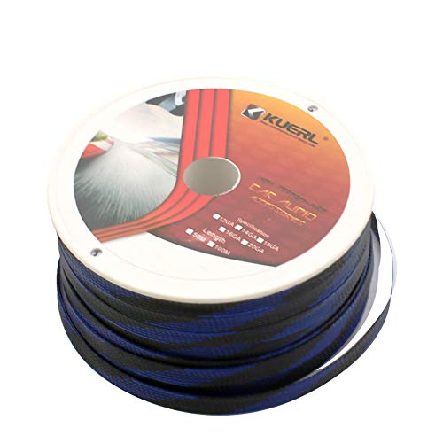 Alician Car Audio Cable Sleeve Uitbreidbare Draadbescherming PET Nylon Gevlochten Sleeving-kabels 6mm zwart en blauw net