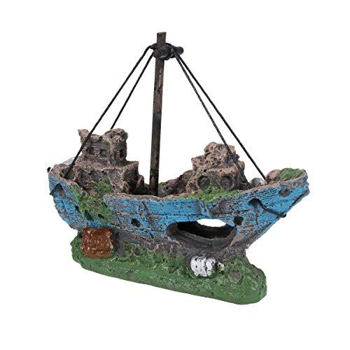 UEETEK Barco Acuario, barco Corsair Barco a vela hundido para decoraci