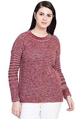 BOXYMOXY Red Full Sleeves Woolen Top Mix Knit Sweater Pullover for Girls & Women