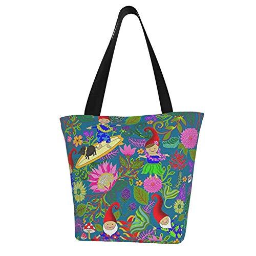 Hawaiianische Gartenzwerge Frauen Mode Casual Canvas Tote Bag Shopping Handtasche Einkaufstasche