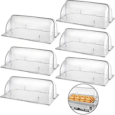 "Mophorn 6 Pack Chafing Dish Cover Clear 21""x13""x17"" Full Size Roll Top Chafing Dish Clear Plastic Bakery Pan Display Cover"