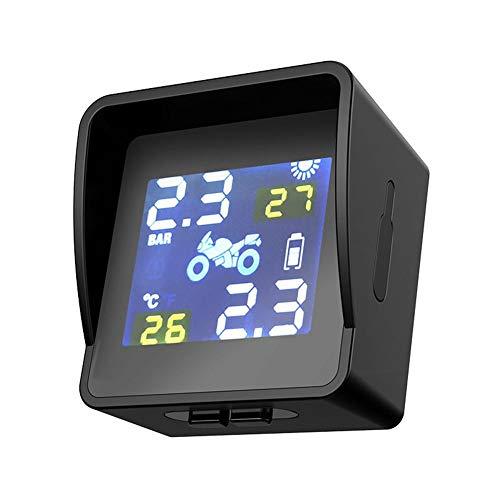Mississ Drahtloses Reifendrucküberwachungssystem Motorrad TPMS Reifendrucküberwachung, IP65 wasserdicht, Unterstützt Solarladung, Alarm für hohe Lautstärke