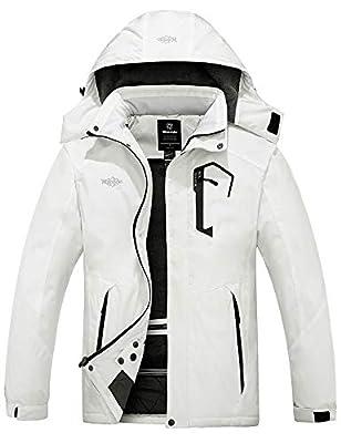 Wantdo Men's Mountain Waterproof Fleece Ski Jacket Snow Coat Parka White S
