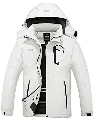 Wantdo Men's Mountain Waterproof Ski Jacket Winter Hood Rain Coat White M